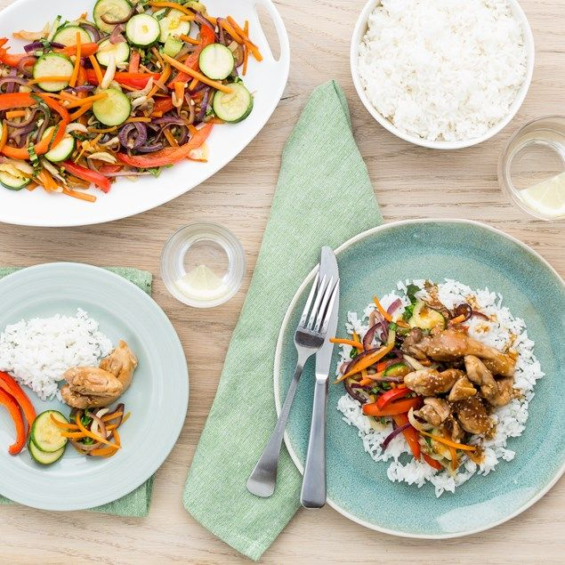 Ginger Soy Chicken with Veggie Stir-Fry and Jasmine Rice