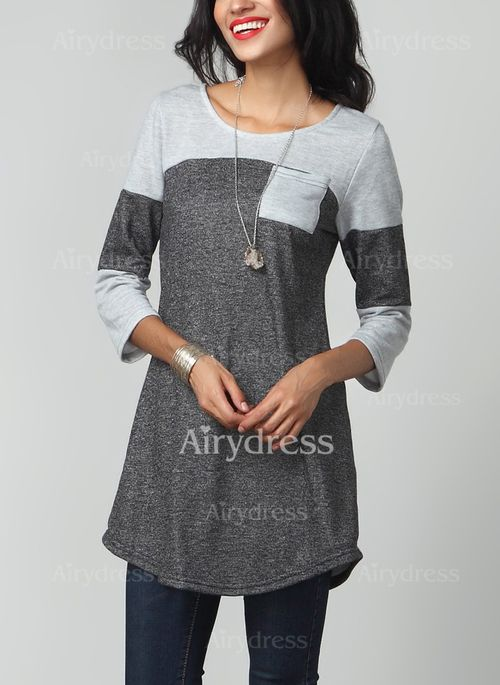 T-shirts - $17.65 - Cotton Color Block Round Neck 3/4 Sleeves Casual T-shirts & Vests (1685124540)
