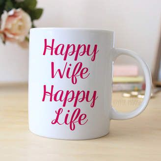 "Pink Coffee Mug says ""Happy Wife Happy Life"". Makes great gift for wife on Valentine's Day or Anniversary. Wedding Gift for her, or Gift for Bride #ad"