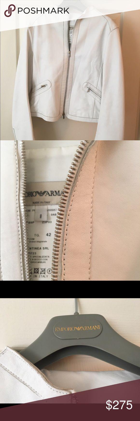 Giorgio Armani Leather Jacket Giorgio Armani White Leather rocker style jacket. Excellent condition. Size 8. Stored in protective coat bag. Giorgio Armani Jackets & Coats