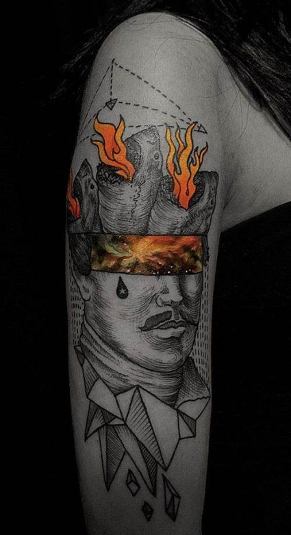 The colors in this tattoo by Nick Broslavskiy are absolutely insane. #InkedMagazine #art #surrealism #tattoo #tattoos #Inked #ink