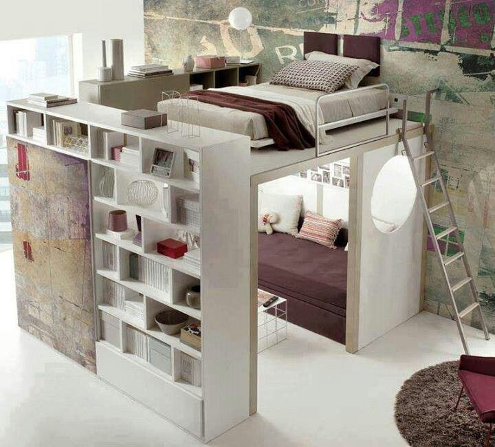 Bad design...but I like the basic premise.  Maybe sleeping space on top, walk-in closet with built in shelves & drawers inside, underneath...it's a thought.