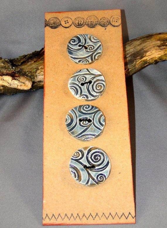 Handmade swirl ceramic buttons by Jocahama on Etsy, $15.00