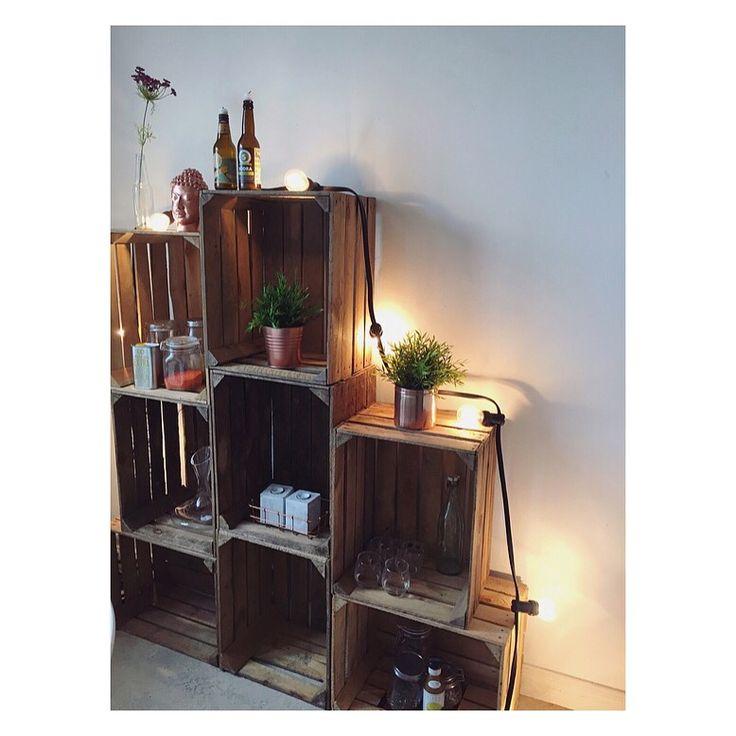 DIY hylla av äppellådor, wooden crates