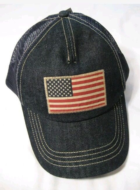 POLO RALPH LAUREN Trucker Hat Sport Ball Cap USA Flag NAVY INDIGO DENIM nwt   fashion 64bd6fbb169c