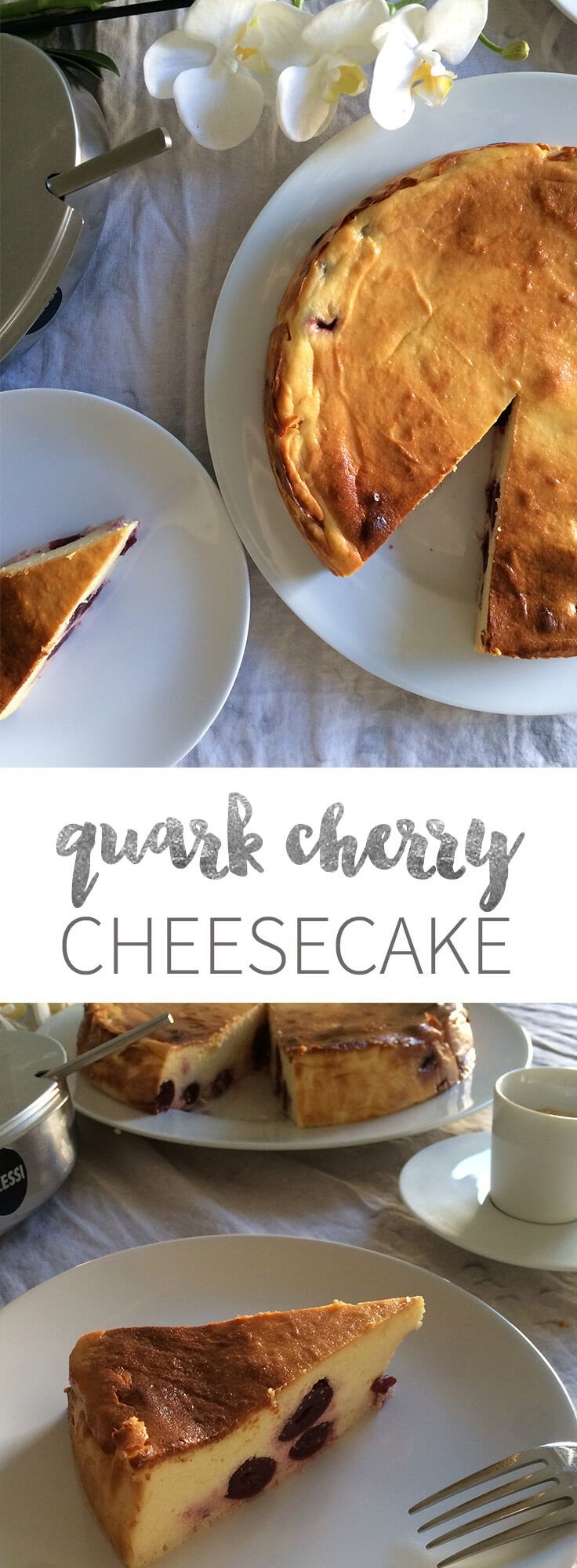 German Cherry Cheesecake has no crust and is made with quark and cherries.