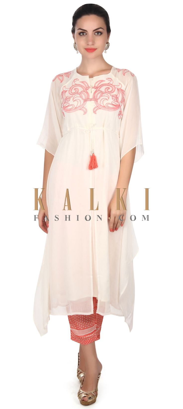 Buy this White suit in resham embroidery with printed pant only on Kalki