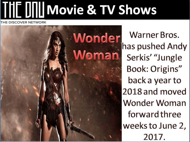 "Warner Bros. has pushed Andy Serkis' ""Jungle Book: Origins"" back a year to 2018 and moved Wonder Woman forward three weeks to June 2, 2017.""Jungle Book: Origins"" is moving from Oct. 6, 2017, to Oct. 19, 2018 — giving it more than two years of separation from Disney's ""Jungle Book"" movie. Both films are based on the Rudyard Kipling book. Disney's version, directed by Jon Favreau, hits theaters on April 15."