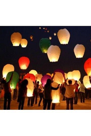 Lanterne volantes coeur blanc d co ext rieur mariage for Lanterne deco exterieur