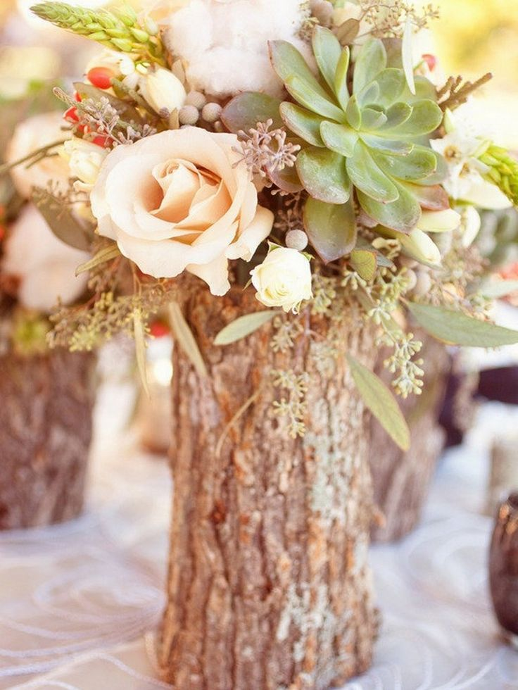 15 Rustic Wedding Centerpieces Photo by  Half Orange Photography
