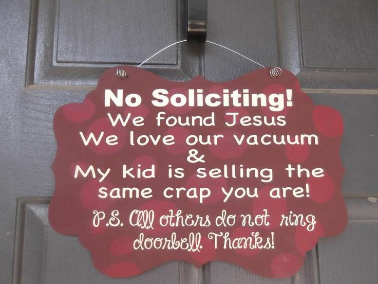 No Soliciting Sign. $22.00, via Etsy.