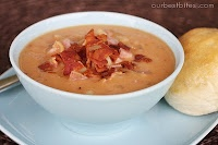 Smokey bean soup with ham and bacon, from OBB website.  We made it tonight.  Very rich in flavor and very good.