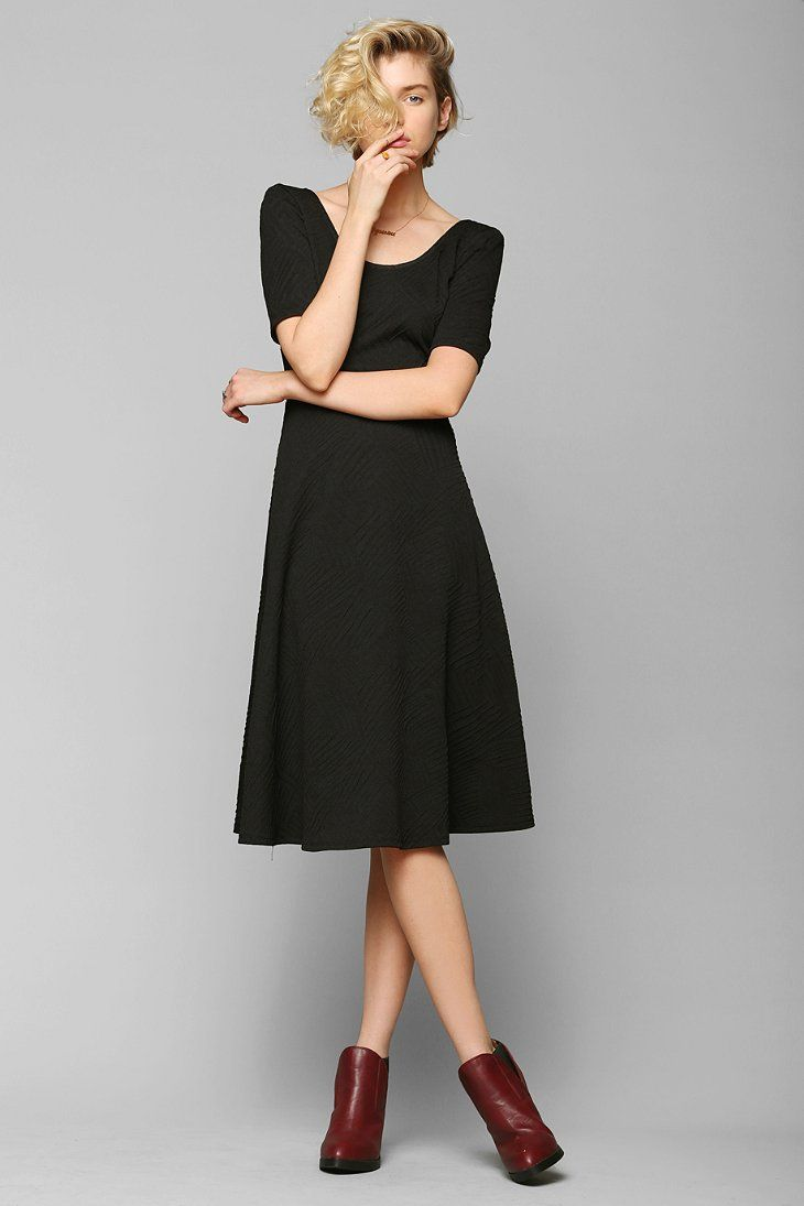 Pins And Needles Textured Knit Fit & Flare Midi Dress