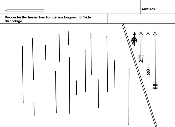 Des flèches de 4 longueurs différentes sont dessinées. Les décorer selon le codage proposé.  - mesure flèches.docx  - mesure flèches.pdf
