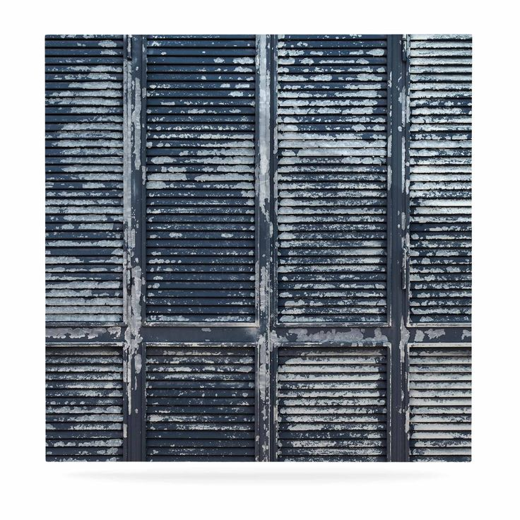 """Susan Sanders """"Rustic Blue Shutters"""" Nautical White Luxe Square Panel"""