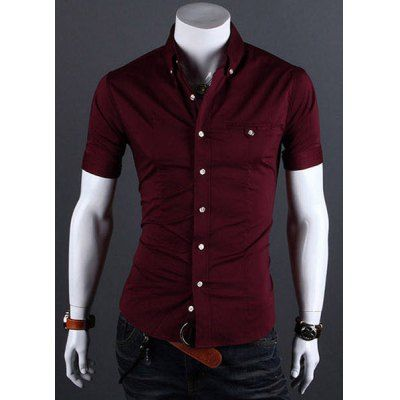 Wholesale Casual Style Shirt Collar Metal Buttons Slimming Short Sleeves Polyester Shirt For Men (WINE RED,L) | Everbuying