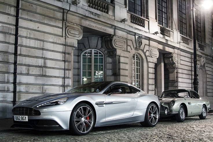 The new Vanquish and a DB5 at Aston Martin's Skyfall Premier.