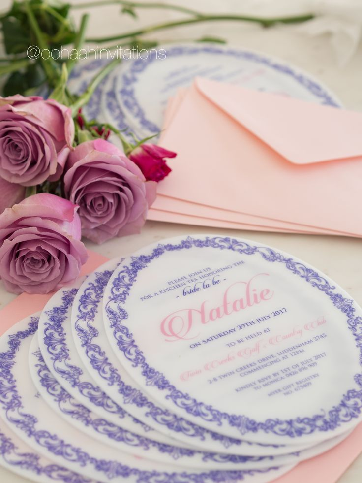 Pretty in pink ! The coolest bridal shower invitation we've completed to date ! Oval cut, 2mm Acrylic stock and baby pink envelopes to match. I heart this so much !!!!!