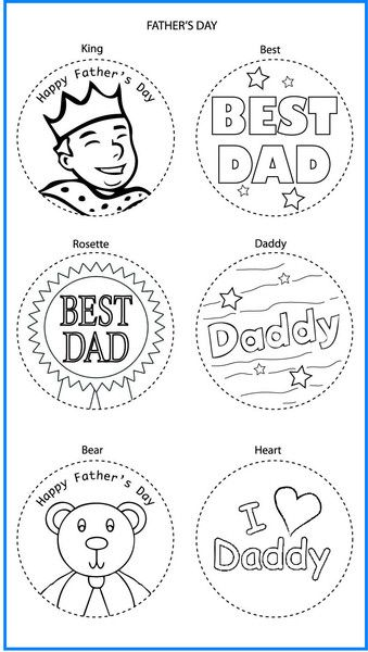 Fathers Day Mixed Designs - Colour In Yourself Badges