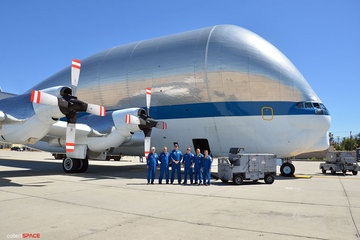 The Super Guppy flies with a crew of six: pilots Greg Johnson and Dick Clark, flight engineers David Elliott and Michael Robinson, aircraft mechanic Bob Coyne, electrician Dan Thompson and loadmaster Jon Myrick.  (CREDIT: collectSPACE.com)