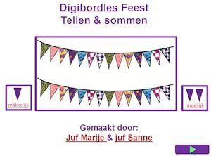 * ▶ Digibordles: tellen & sommen met feestvlaggetjes