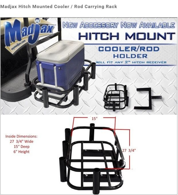 Universal Golf Cart Hitch Mounted Cooler Fishing Rod