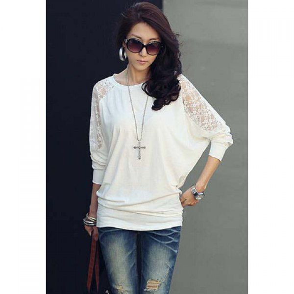 Women's Batwing Top Dolman Long Sleeve Lace Loose T-Shirt Blouse, WHITE, ONE SIZE in Tees & T-Shirts | DressLily.com