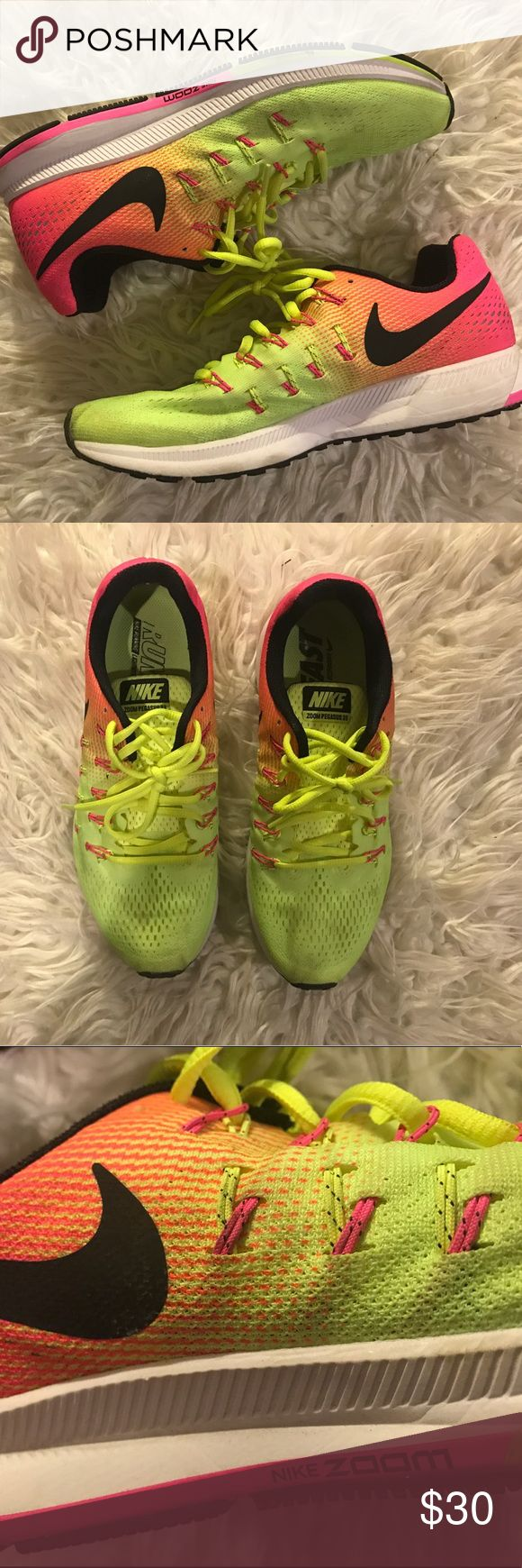 Multicolored Nike zoom sneakers Multi colored Nike zoom sneakers that fade from pink to neon. Nike Shoes Sneakers