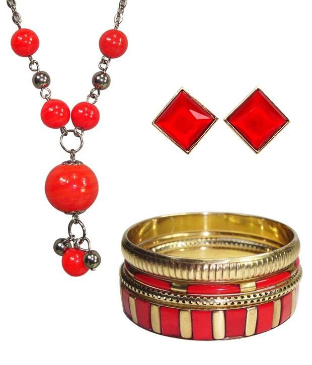 Get 50% OFF ON Hi Look red coloured Jewellery combo.