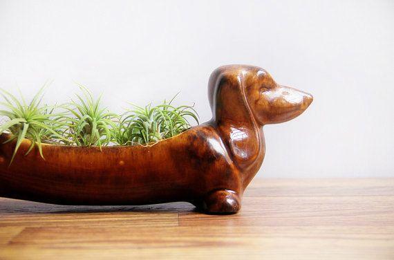 Vintage Ceramic Dachshund Planter Wiener Dog Kitchen Caddy Unique Home Accent Succulent