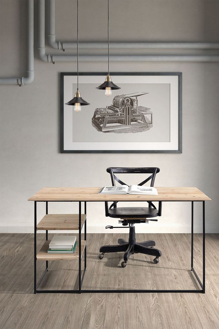 minimalist industrial chic office
