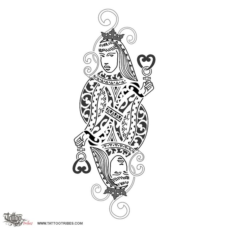 Queen of hearts    The queen of hearts is as much a feminine as a masculine symbol: she symbolizes femininity, sensuality but also passion and love for women.    This design was requested by Alessandra to represent complicity between women.    The Maori motifs of the dress include waves (water as a feminine symbol, and change), shark teeth (adaptability) and korus (new life).