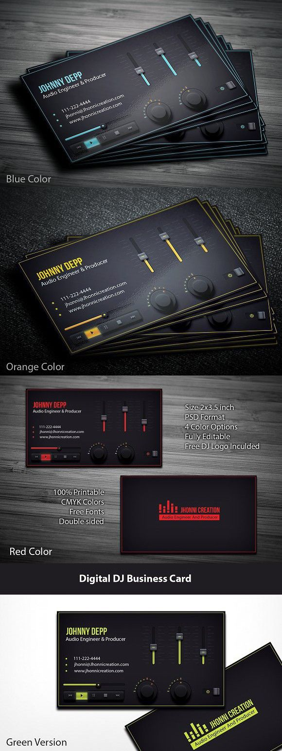 Music Producer And Dj Business Card Dj Business Cards Music Business Cards Dj