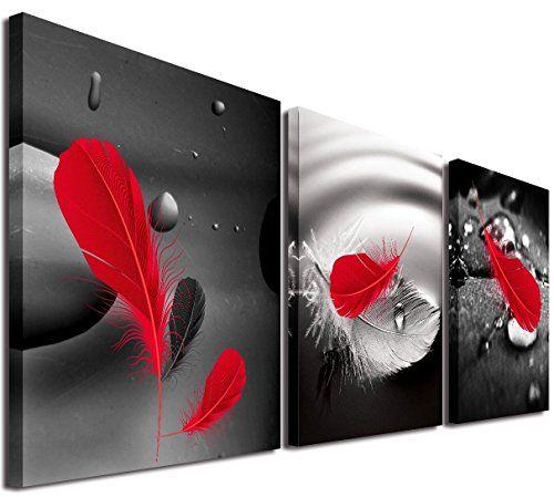 Mon Art 12en X 12en X3photos Art Abstrait En Noir Sur Fond Rouge