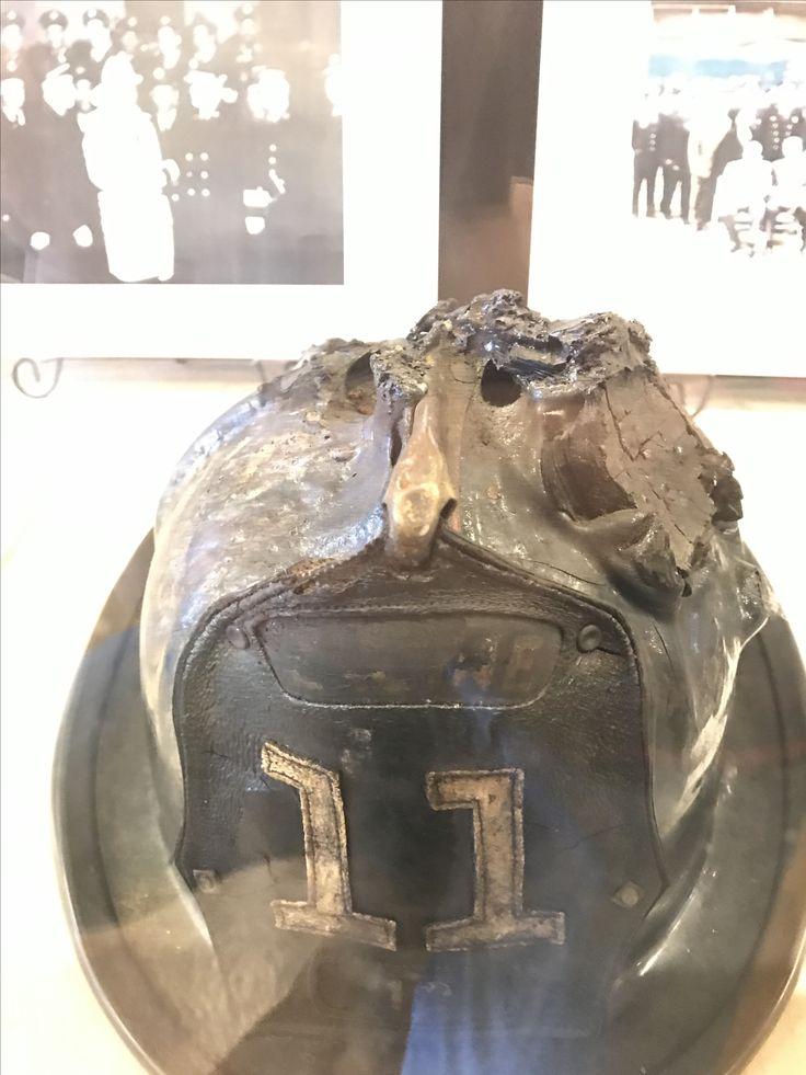Melted firefighter helmet