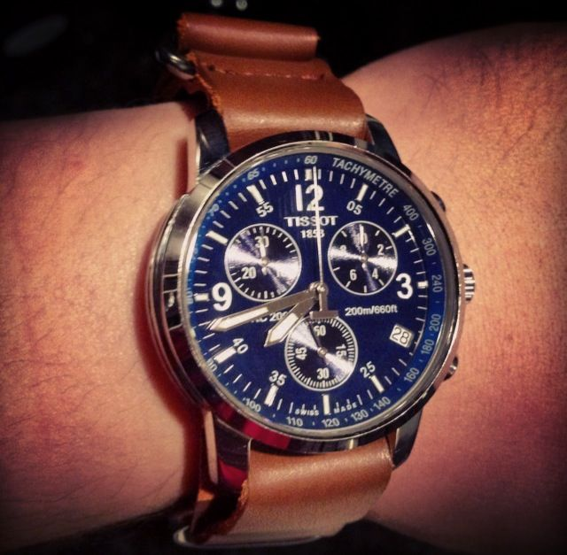 Tissot PRC 200 Blue With The Nato Strap Brown Leather