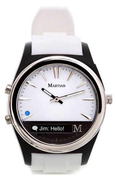 Martian Smartwatch Martian Watches 'Notifier' Round Silicone Bracelet Smart Watch, 43mm available at #Nordstrom