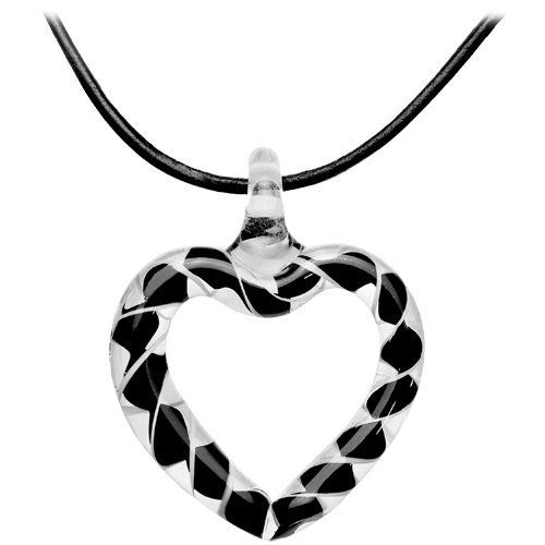 Glass Helix Open Heart Pendant Leather Necklace Body Candy. $6.99. Save 74%!