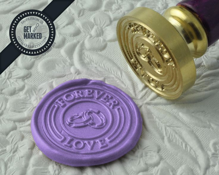 Forever Love - Wax Seal Stamp by Get Marked - Wedding Collection (WS0189).  The stamp is ideal for wedding, engagement party and bridal shower invitations.  #GetMarked, #waxsealstamp, #waxseal, #wax, #wedding, #invitation