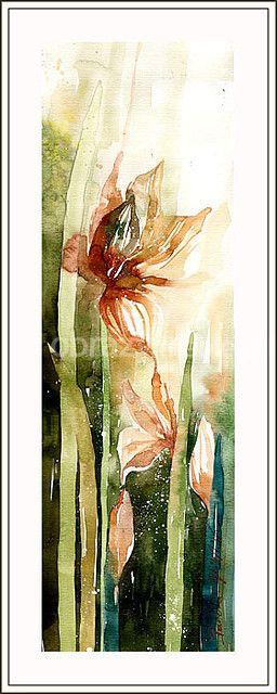 Irys. Pełna wdzięku kompozycja kwiatowa, świetnie zaprezentuje się zarówno w klasycznym jak i nowoczesnym wnętrzu. Praca wykonana techniką akwareli na papierze, bez oprawy.