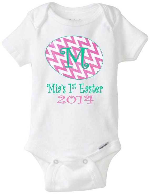 353 best gifts for a new baby images on pinterest surf shop babys 1st easter custom personalized with name onesie pink white chevron easter egg negle Images