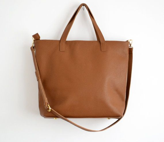 LEATHER LAPTOP Top Zip Tote Bag Brown Leather Oversize by KadoBag