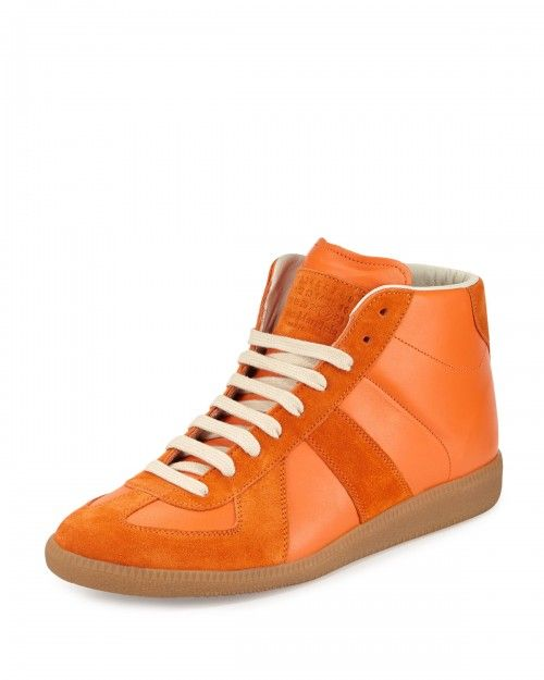 Maison+Margiela+Replica+Mid+Top+Leather+Sneakers+Orange+41eu+8us+|+Shoes+and+Footwear
