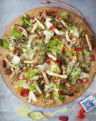 crispy polenta chicken caesar salad