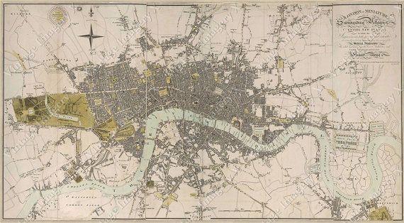 Large Vintage Historic London England 1807 Old by VintageImageryX, $37.00