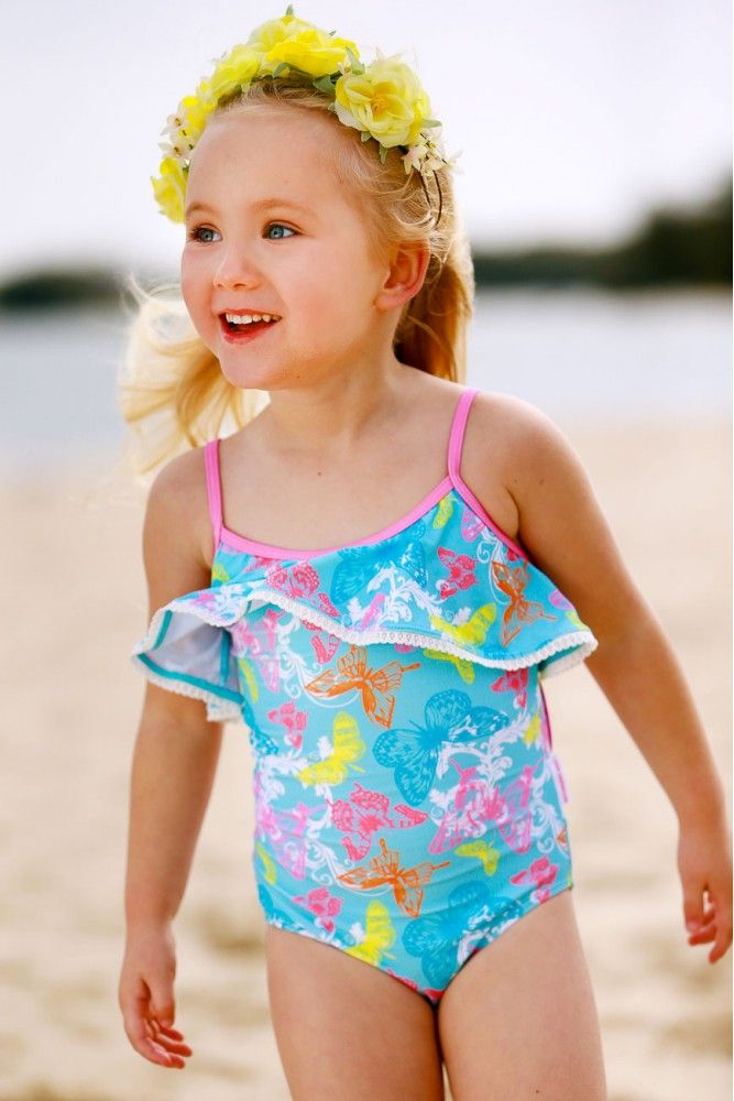 Girls One Piece Suit with Lace & Cut-Out Back