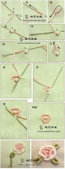 [Volume rosa bordado agulha de bordado método de volumes de agulha] (também conhecido como ou enrolado em um bordado tapeçaria), que é muitas vezes usado para costurar rosas bordadas ou rosa.  Spiraea rosas bordadas a ser mais espessa, se disponível 3-4 fios com as linhas de bordar 25 de pontos.  Camisola de lã ou vestido em lã bordados finos fio disponível.