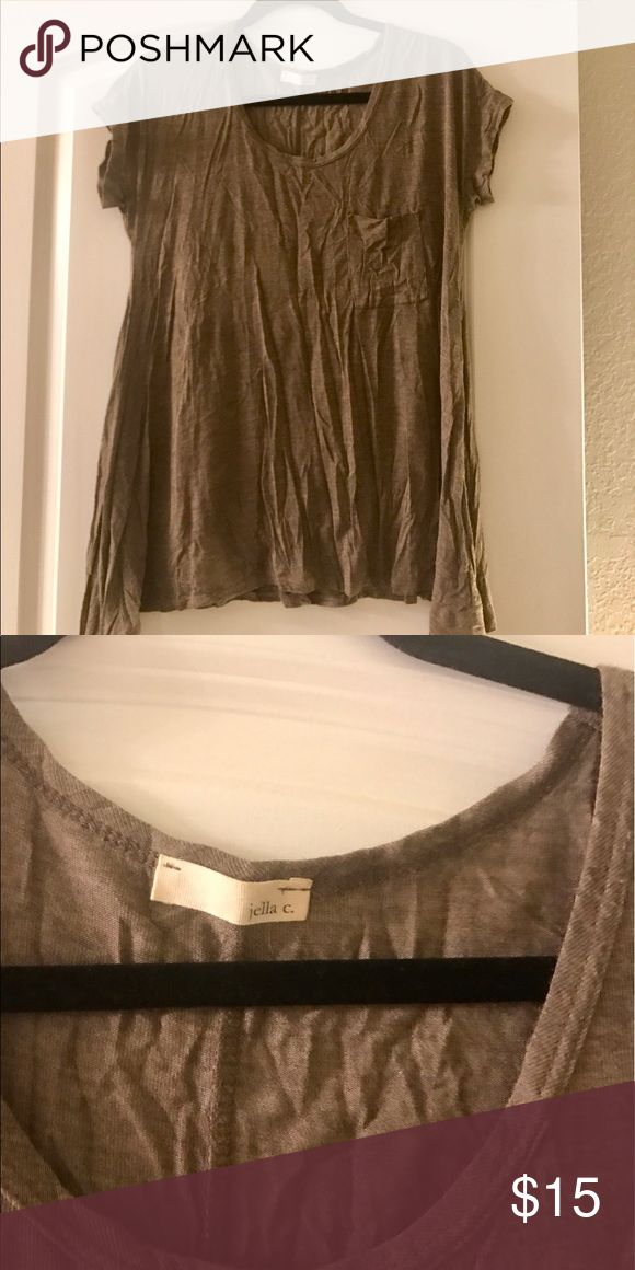 NWOT • Flowy Beige Short Sleeve Top NWOT • Flowy beige short sleeve top. Size S. I'm a size small and it goes past my bottoms. Perfect for skinny jeans or leggings for a comfortable look! Tops Tees - Short Sleeve