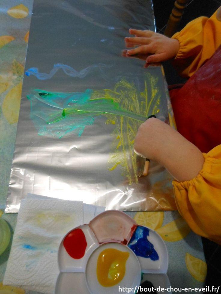 Activité peinture libre sur aluminium | Bout de chou en éveil