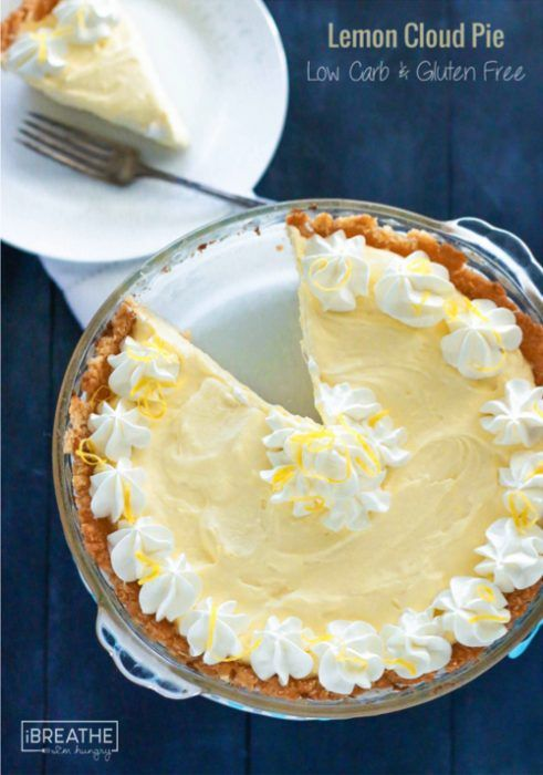 This intensely flavored low carb lemon cloud pie is keto and Atkins friendly - not to mention gluten free! Perfect for any party!